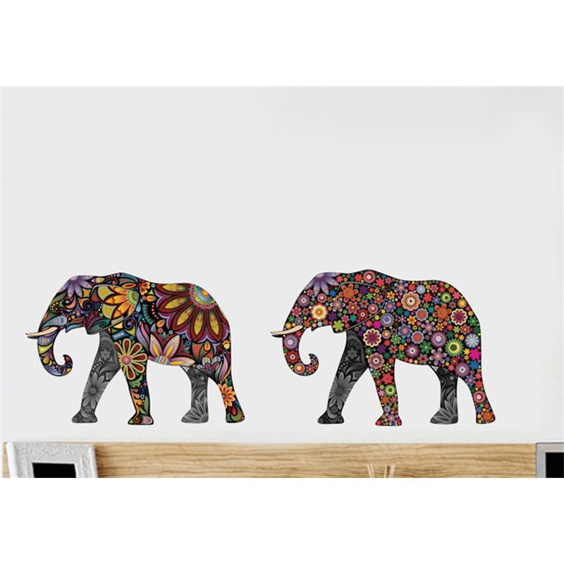 Elephant Flower Pattern Wall Stickers 4pcs wall stickers WickedAF