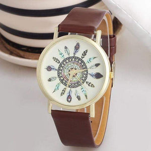 Boho Feather Wrist Watch watches WickedAF Brown