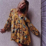 Water Lily Floral Yellow Boho Dress WickedAF