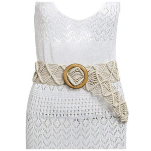 Woven Belt with Circle Buckle WickedAF White