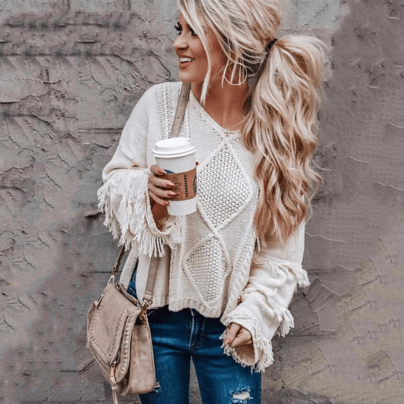 WickedAF White / L One More Camel Fringe Sweater