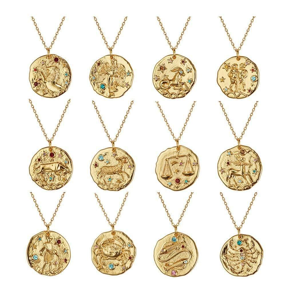 Zodiac Sign Coin Necklaces WickedAF