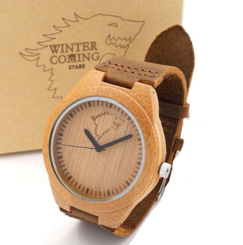 Wooden Watch Quartz Real Leather Strap Men Watches With Gift Box
