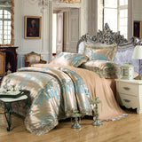 Luxury Embroidery Tencel Satin Silk Jacquard Bedding Sets Bed Sheet Queen King size 4pcs/6pcs Duvet Cover Sets