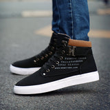 Boots Autumn Leather Footwear For Man New High Top Canvas Casual Shoes Men