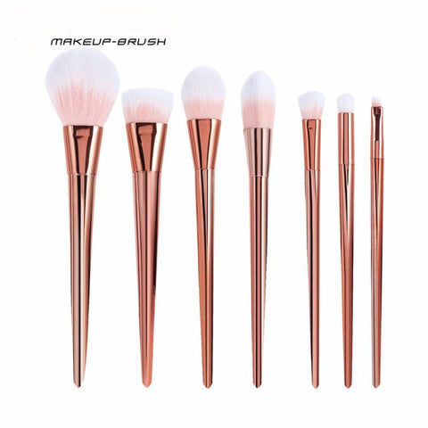 Professional 7PCS Rose Gold Blush Cosmetics Brush