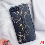 Fashion Marble silicon Ring Phone Cases For iphone 6s 6 X 7 8 PlusHide Stand Holder Cover