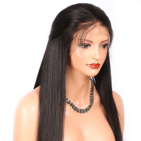 360 Human Hair Lace Wigs Yaki Straight 180 Density Natural Color  Virgin Brazilian Remy Hair Medium Cap
