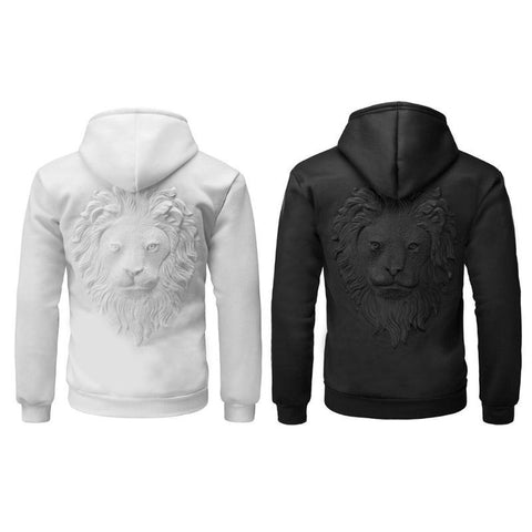 3D Lion Head Print Embossing Men's Hoodie Casual Solid Hooded Sweatshirt Male Black White Personality Hoodies
