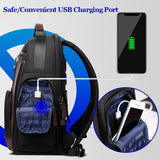 New Black Multi Pocket Men Backpack Business Solid Nylon Daypacks Mochila Bags Convenient USB Charging