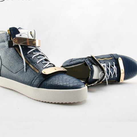 Casual Zipper Sneakers Snake Print Leather Metal Buckle Blue Sapato Masculino