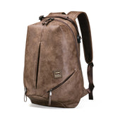 New Design USB charging Mochila Leather Travel Laptop backpack