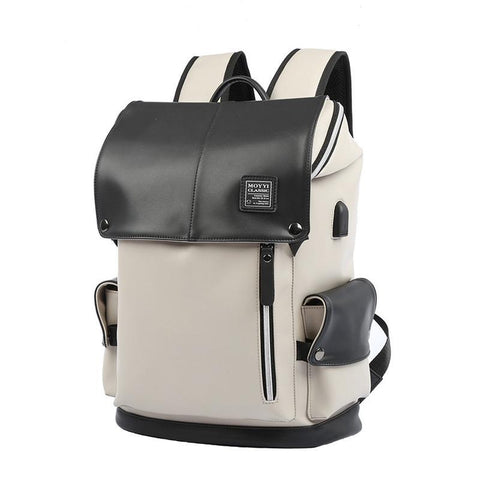 2018 Hot Sale Men's Leather Backpack Vintage USB School Bags