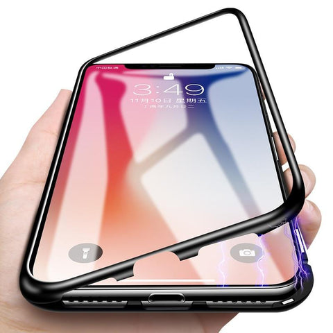 Ultra Magnetic Adsorption Phone Case For iPhone X 10 8 7 6 6S S Plus Coque Luxury Metal Magnet Back Glass Cover