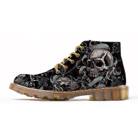 2018 Fashion Mens Skull Shoes For Men Martins Shoes Skeleton Print Black BootS