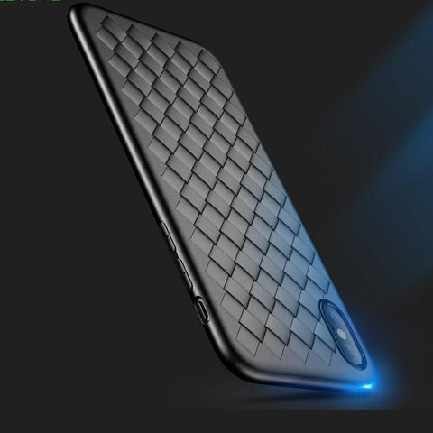 Super Soft Phone Case For iPhone 8 Luxury Grid Weaving Cases For iPhone 6 6s 7 8 Plus X