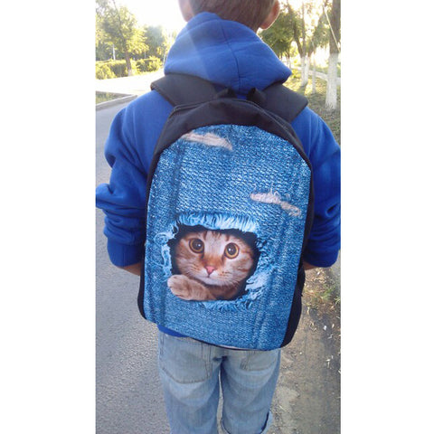 3D Teenage Cat Dog School Bags