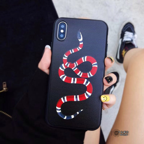 Fashion Tiger Snake Soft case for iphone 6 6S S plus 7 7plus 8 8plus X 10 Black Animal Cat phone cases