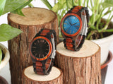 Full Wooden Watch Dark Brown/Sapphire Blue Creative Nature Wood Handmade Clock
