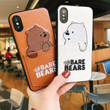 luxury Pu Leather Cartoon Bear Phone Case for IPhone 7/6s/8 8plus x 6splus Soft  With Card Pocket