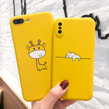 Cute Cartoon Lazy Cats Phone Case For iphone 7 6 6S 8 Plus Yellow Back Cover