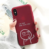 Funny Cartoon Lovers Case For iphone X 7 6S 6 8 Plus Middle Finger Cover Retro Wine Red Black Cases