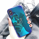 Cool Universe Planet Case For iPhone 6S 6 7 8 Plus X Retro Smooth Blu-Ray Cover Fashion Cartoon Cases