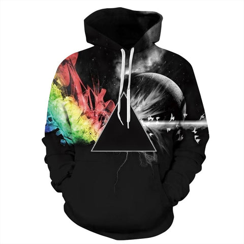 3D Sunlight Refraction Rainbow Hooded Pullover Tops Hoody