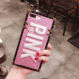 Luxury Embroidery 3D Pink Letter Case with Glitter Metal Square for iPhone 7 7Plus 8 X 6 6s Plus