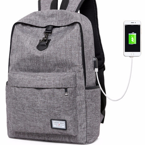 "USB Charging Teenagers School Backpacks ""Notebook Laptop"""