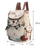 Cute Cat Backpack Women Girls Canvas Backpack Drawstring Printing Large Capacity School Bag