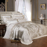 Sliver Golden Luxury Satin Jacquard bedding sets Embroidery bed set double queen king size duvet cover bed sheet set pillowcase