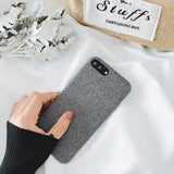 Cloth Texture Leather Soft TPU Case with Ultra-thin Canvas Silicone For iphone 6 6S 7 8 Plus X