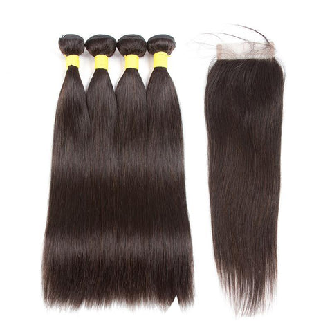 Virgin Brazilian Straight Wave Bundles With Closure Remy Hair Natural Human Hair Extension 5Pcs/Pack Hair Weave