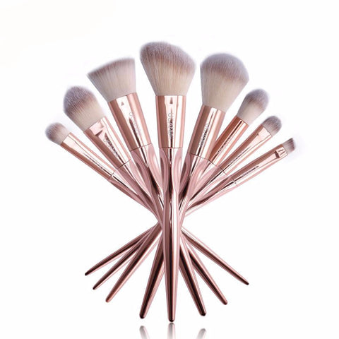 8pcs Luxury Grasp Handle Rose Gold Metal Makeup Brushes Set