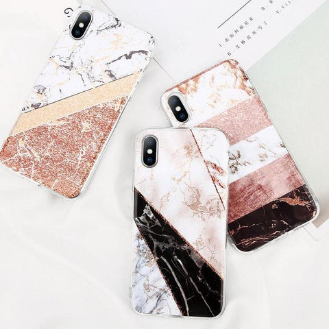 Glitter Powder Marble Phone Case For iPhone iPhone X 8 7 6 6S Plus Glossy Stone