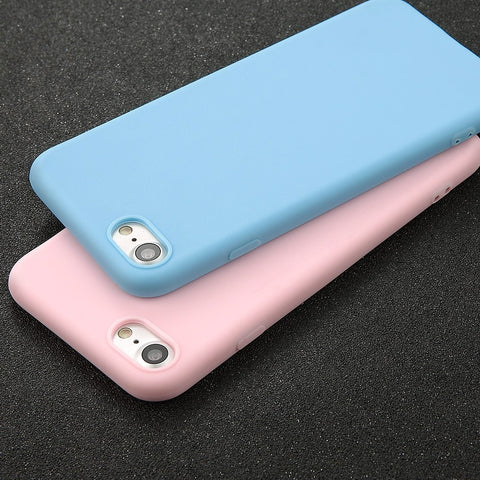 Phone Case For iPhone 7 6 6s 8 X Plus 5 5s SE Simple Solid Color Ultrathin Soft TPU Cases Fashion Candy Color