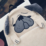 Cute Vintage Designer Dog Ear Canvas Backpack