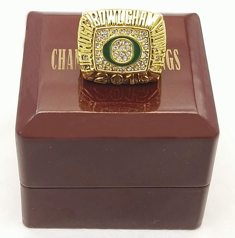 2015 Rose Bowl Oregon Ducks Championship rings with Wooden Boxes
