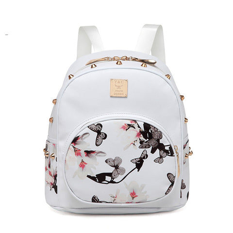 3D Printing Floral PU Leather Rivet Backpack