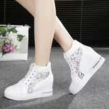 Women Wedge Platform Leather Lace Up High Heel Sneakers