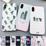 Candy Color Art Leaf Print Phone Case for iPhone X 6 6s 7 8 Plus