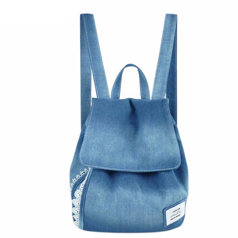 Jeans Lace Shoulder Retro Canvas Bag For Women