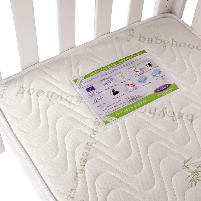 Babyhood Breathe Eze Bamboo Inner Spring Mattress 295 x 695 mm | Baby Box | NZ Baby Shop
