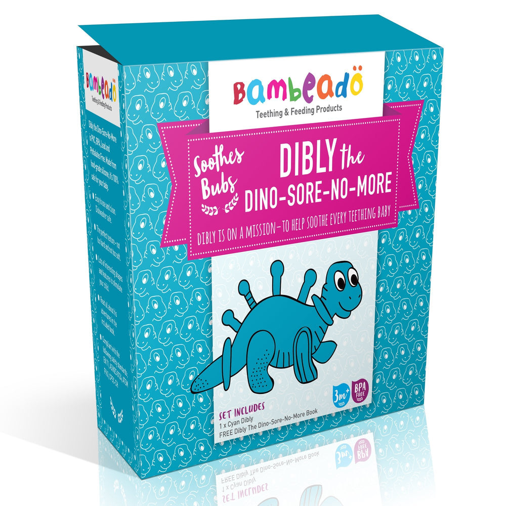 Bambeado - Dibly the Dino-Sore-No-More - Cyan | Baby Box | NZ Baby Shop