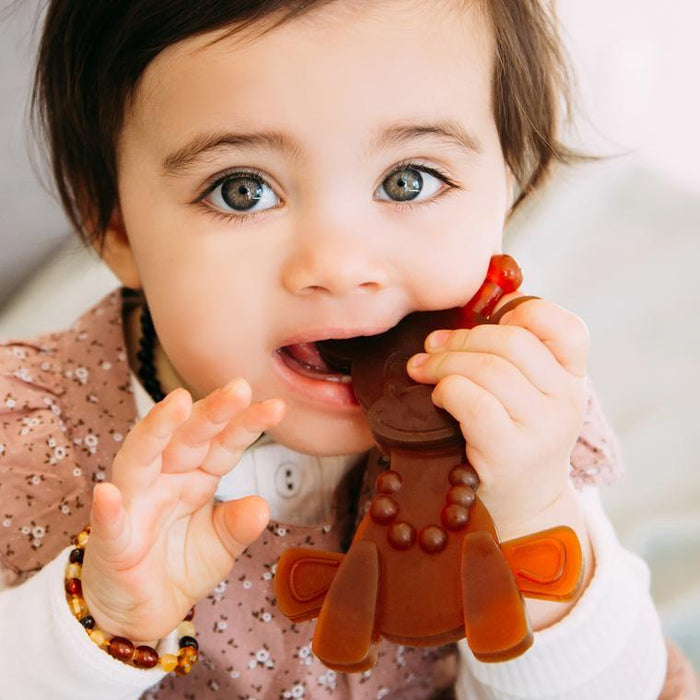 Bambeado - Little Bamber Amber and Rubber Teething Toy | Baby Box | NZ Baby Shop