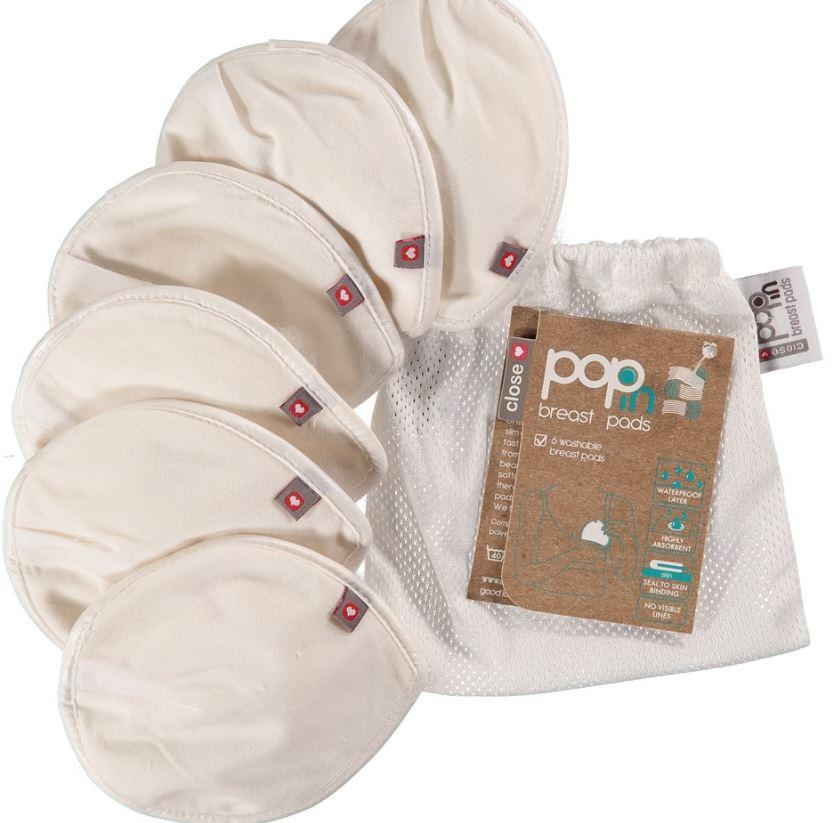 Close Pop-In Reuseable Breast Pads - 3 Pairs (6pcs) in mesh bag | Baby Box | NZ Baby Shop