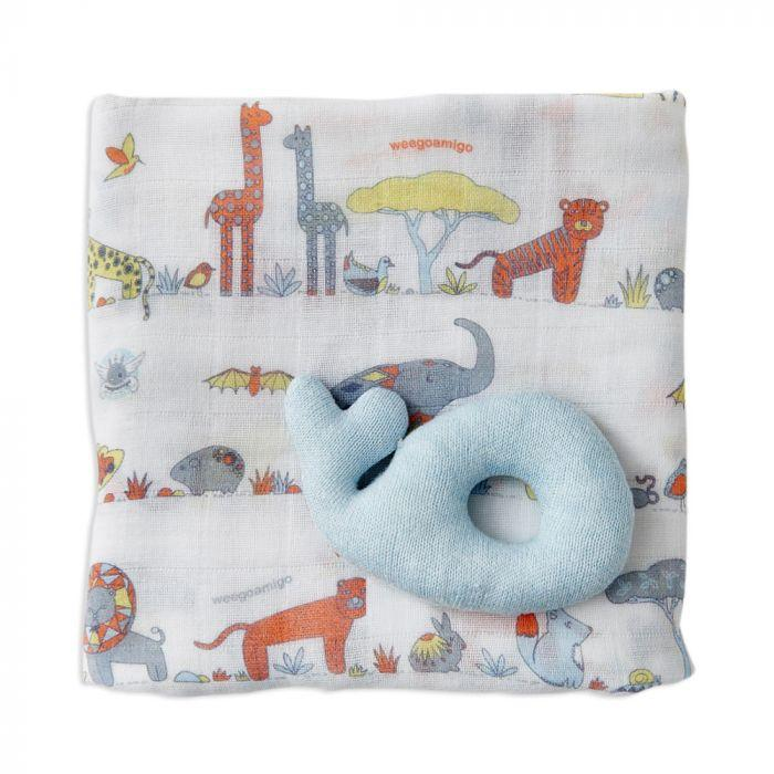 Holey Rattle & Muslin - Whale | Baby Box | NZ Baby Shop