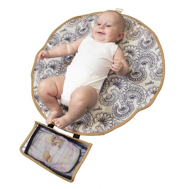 Isoki Adelaide Round Change Mat Purse - Two Tone | Baby Box | NZ Baby Shop