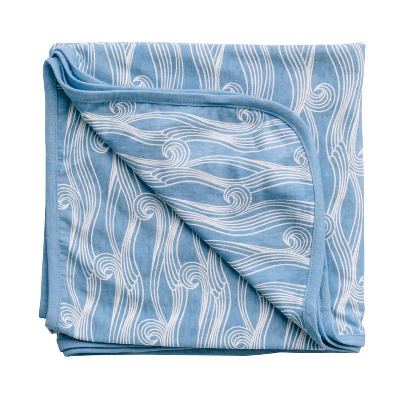 Woolbabe Merino/Organic Cotton swaddle/blanket Summer Waves | Baby Box | NZ Baby Shop